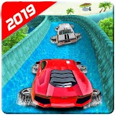 Water Surfing Floating Car Racing Game 2019
