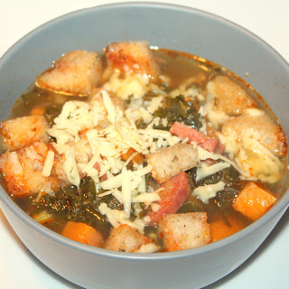 Chorizo Soup with Homemade Croutons.