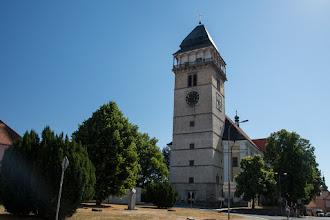 Photo: Dačice - kościół św. Wawrzyńca. Pierwsza pisemna wzmianka na temat tej świątyni pochodzi z 1183 roku. Wieża o wysokości 51 metrów wybudowana w latach 1586–1592.