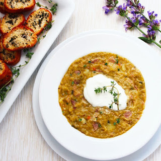 Ham & Split Pea Soup with Herbed Croutons Recipe