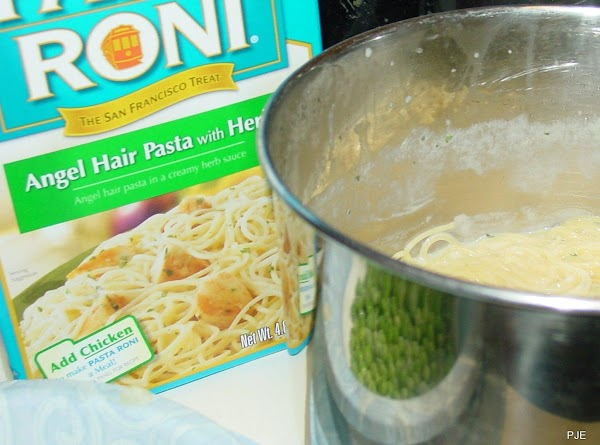 Cook Pasta Roni as directed, substituting 1 1/3c chicken broth for the water, and...