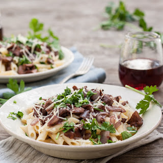 Penne with Chanterelle Mushrooms & Red Wine Sauce