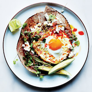 Chile-and-Olive-Oil-Fried Egg with Avocado and Sprouts