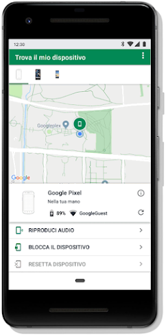 Schermata Trova il tuo telefono su un dispositivo mobile