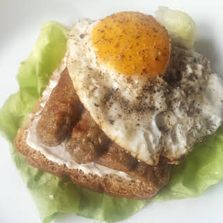 Breakfast Sausage and Egg Sandwich.