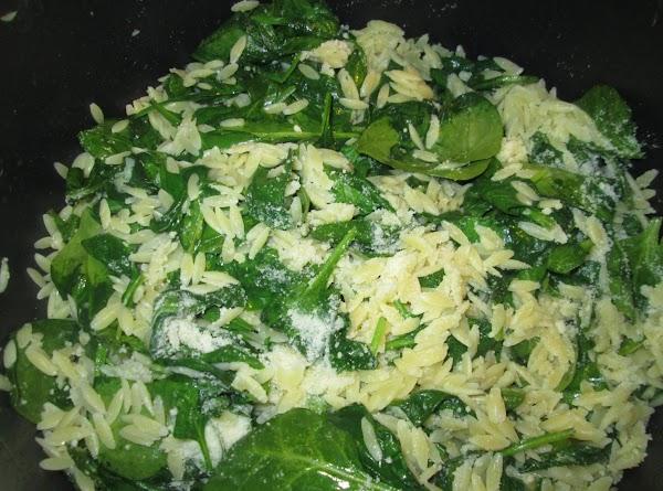 Spinach W/ Orzo Pasta, Garlic, & Parmesan Cheese Recipe