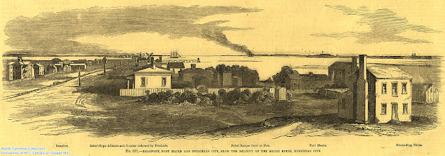 """Photo: """"Beaufort, Fort Macon and Morehead City, from the balcony of the Macon House, Morehead City."""" Frank Leslie's Illustrated Newspaper, April 26, 1862, p. 388."""