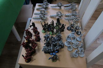Photo: Dark Eldar reserve forces - Dark Angel had a Librarian, Chaplain and 2 squads of 4 terminators each in reserve.