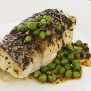 Monkfish with Peas.