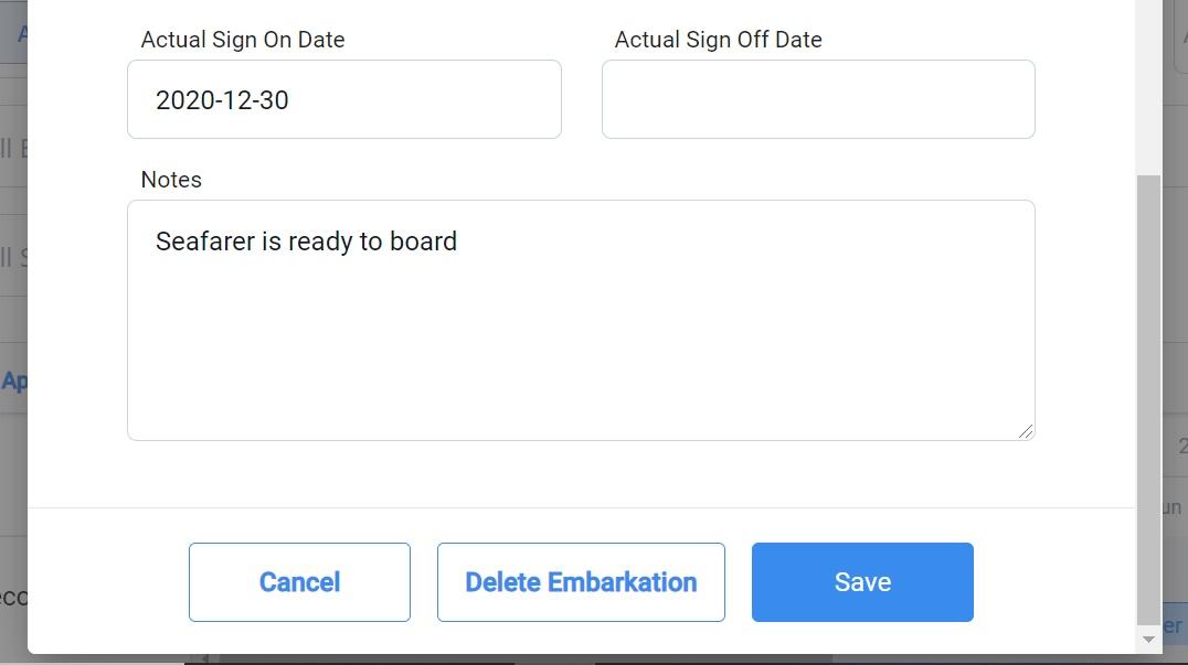 screenshot of the embarkation details pop up box