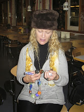 Photo: Jana checking out her bead strand