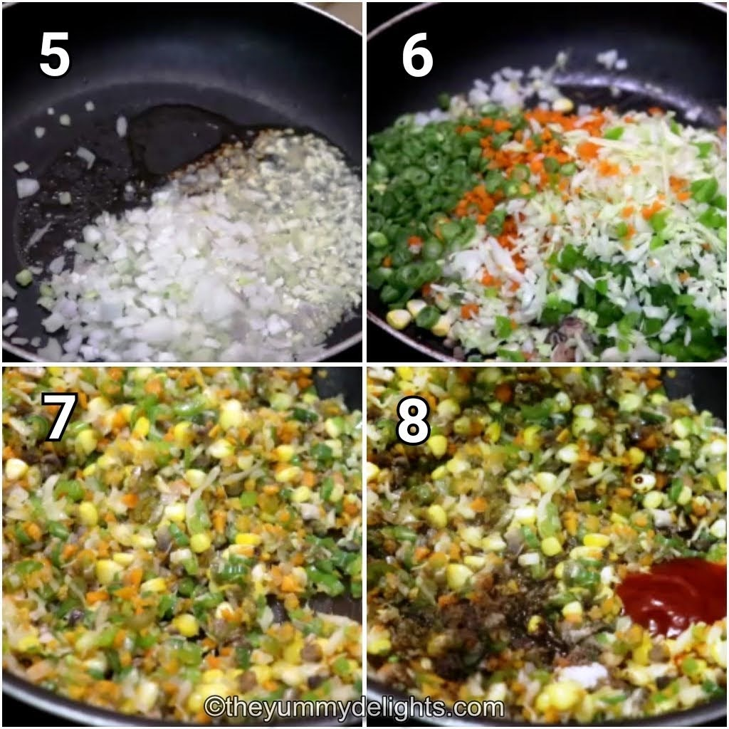 step by step image collage of stir-frying the vegetables & addition of seasoning to veg manchow soup