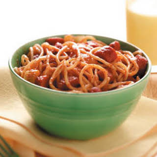 Chili Spaghetti with Hot Dogs.