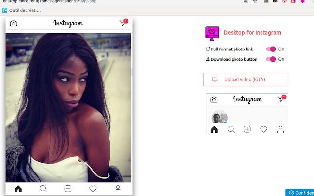 Desktop mode for Instagram