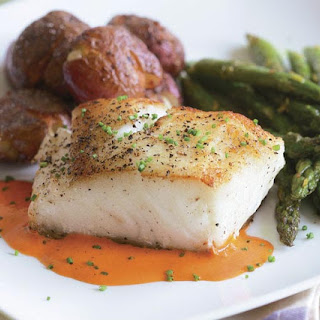 Sear-Roasted Halibut with Roasted Red Pepper Purée.