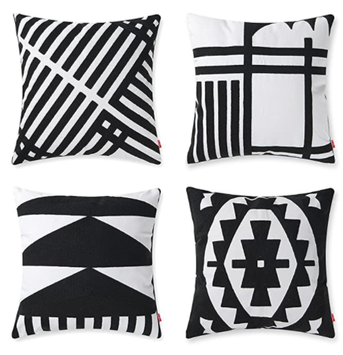 baibu pack 4 throw pillow cases black and white