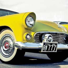 Yellow Bird by Boyd Smith - Transportation Automobiles ( classic car, white walls, thunderbird, yellow car, ford )