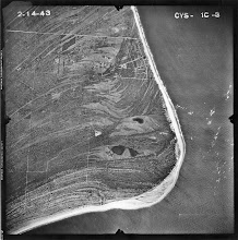 Photo: 1943 aerial of the area.  Clearly two lobes of the pond are visible here as are the beach ridges.
