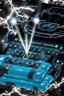 neon blue cars keyboard theme screenshot thumbnail