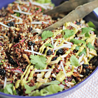 Spiced Grain Salad with Avocado Raspberry-Chipotle Dressing.