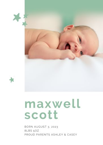 Max's Birth Announcement - New Baby Announcement Template