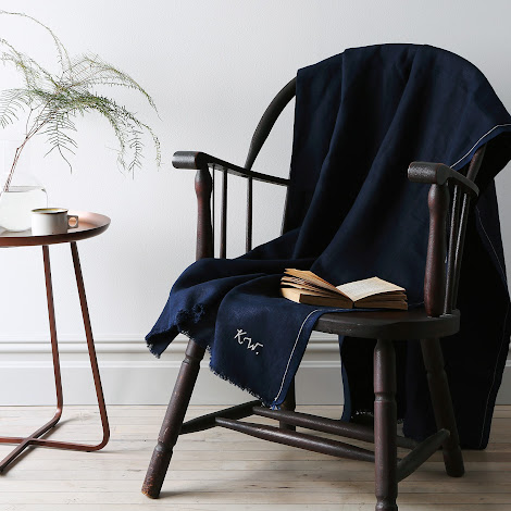 Indigo Linen Throw with Monogram Option