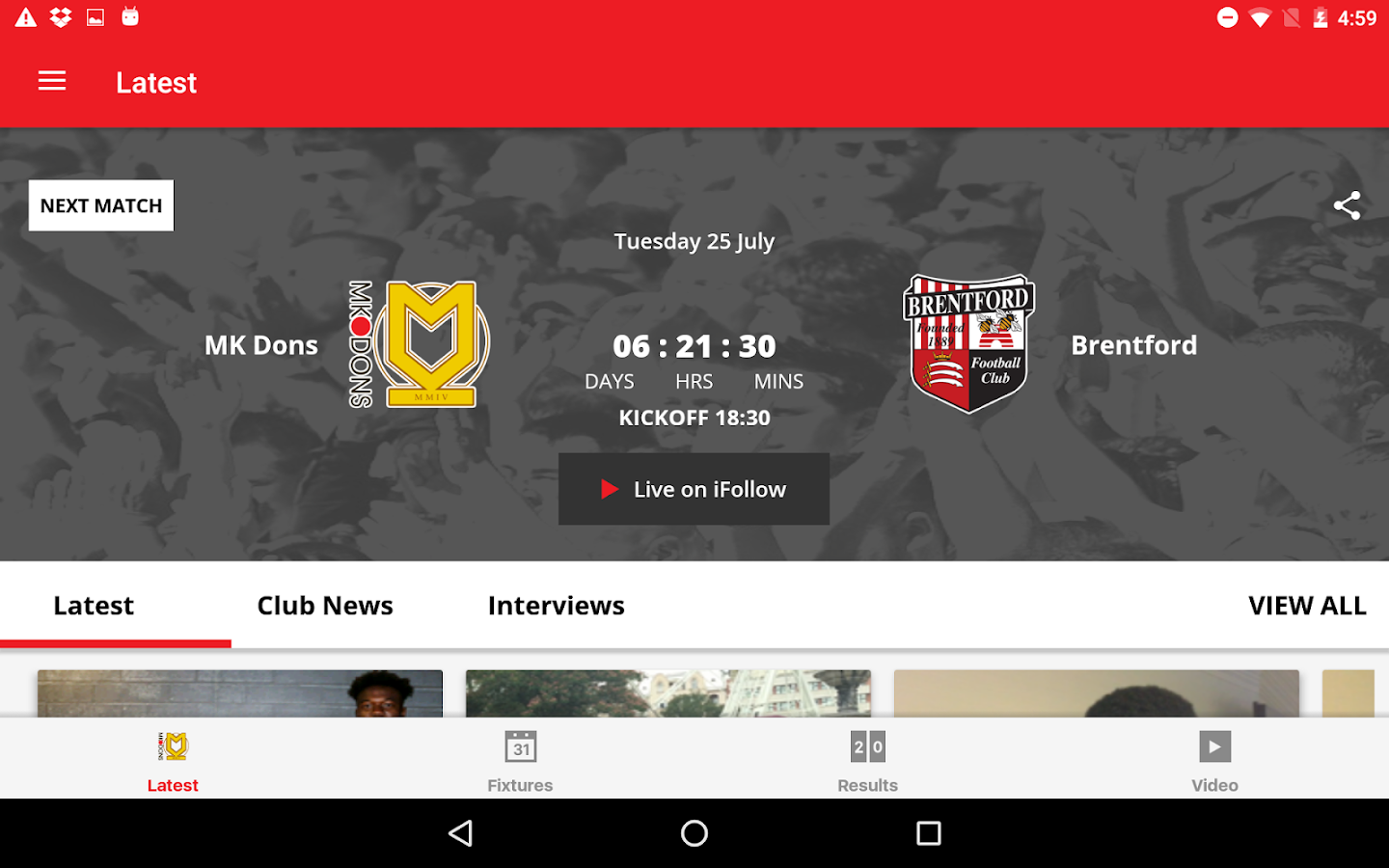 MK Dons Official App- screenshot