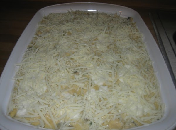 Repeat for a third, and last, time, but top with all remaining mozzarella cheese...