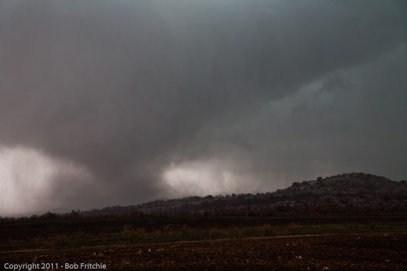 Photo: (4:02pm - Looking NW) This is the last shot we have of tornado #5 as we needed to maneuver around the Wichita Wildlife Refuge to meet the storm again north of it.