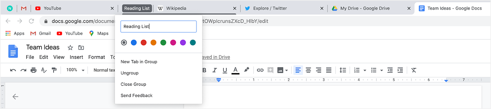 Browser screenshot of a single tab being grouped into a tab group with a colorful border