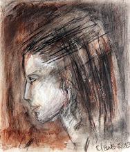 "Photo: A Woman in a Sketchbook, 2013, Brenda Clews, 6"" x 6.5"", charcoal, conte crayon in Moleskine A3 sketchbook."