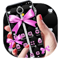 Pink Black Minny Bowknot Theme icon