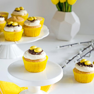 Vanilla cupcakes with Easter nest frosting.
