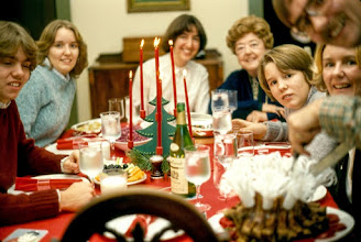 Photo: Christmas at my house 1976 with (L-R) Randy (nephew), Laurel (niece), Julane (wife), Florence (mother), Robert (nephew), Karen (sister) & Me carving the roast. Pork Crown Roast, Red Cabbage, Potatoes, Glazed Onions, green beans, lingenberries and wine. The Christmas Tree Candelabra is also Norwegian.
