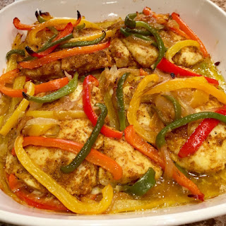 Baked Fish With Hawaij Spices And Sweet Rainbow Peppers.