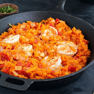 """Spicy Shrimp and Butternut Squash """"Rice"""" with Tomatoes"""