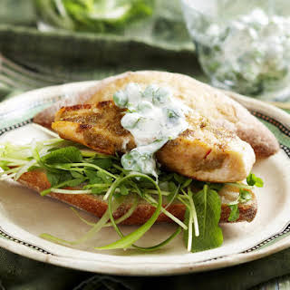 Salmon Sandwiches with Pea Shoot Salad and Cilantro Yogurt.