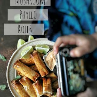 Mushroom Phyllo Rolls.
