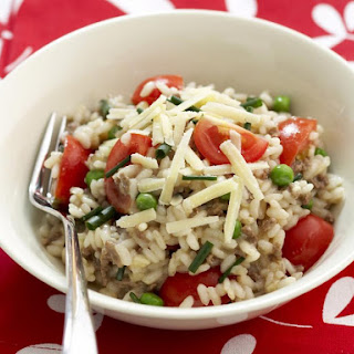 Ground Beef, Parmesan and Pea Risotto