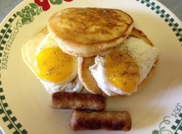 In my neck of the woods, pancakes are served with eggs sandwiched between them,...