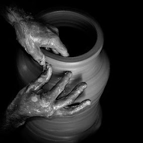 Pottery by Hassan Malghani - Artistic Objects Cups, Plates & Utensils ( black and white, art, cultural, black white, traditional, potteryart, black background, cultural heritage, blackandwhite, gray and black, potter, tradition, pottery, culture )