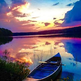 Canoeing at Glendale lake Pennsylvania  by Bryan Gruber - Transportation Boats (  )