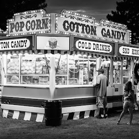 Cotton Candy by Jim Talbert - Black & White Street & Candid ( cotton candy, candid, night, fair, county fair, black and white, street photography )