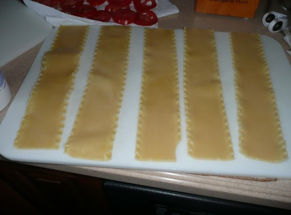 Place noodles in rows on lg cutting board