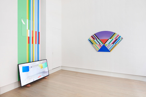 Installation view of Anton Ginzburg: VIEWs. From left: New York Color-Space Initiative #5 and COEV Composition #12 (2019), Color and Line (2013), VIEW_5A_02 (2018).