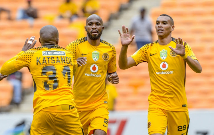 Ryan Moon ()R) celebrates with teammates after scoring during the Nedbank Cup Last 32 match between Kaizer Chiefs and Golden Arrows at FNB Stadium on February 11, 2018 in Johannesburg, South Africa. Chiefs won 3-0.