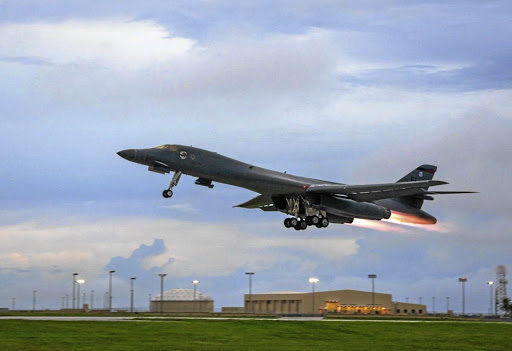 A US Air Force B-1B Lancer, assigned to the 37th Expeditionary Bomb Squadron, takes off to fly a bilateral mission with Japanese and South Korea Air Force jets in the vicinity of the Sea of Japan, from the Andersen Air Force Base on Guam, on October 10 2017. Picture: US AIR FORCE VIA REUTERS