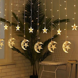 Instalatie pentru interior, perdea cu luna si stele, Alb cald / Multicolor