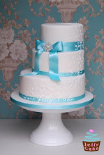Photo: Teal and Lace Wedding Cake by jellycake (7/15/2012) View cake details here:http://cakesdecor.com/cakes/21780