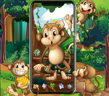 Kawaii Cute Brown Cartoon Monkey Theme - náhled